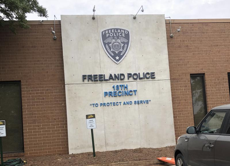 "Outside the set of ""Black Lightning"" in Atlanta. This building is made up to appear as the show's fictional police department."