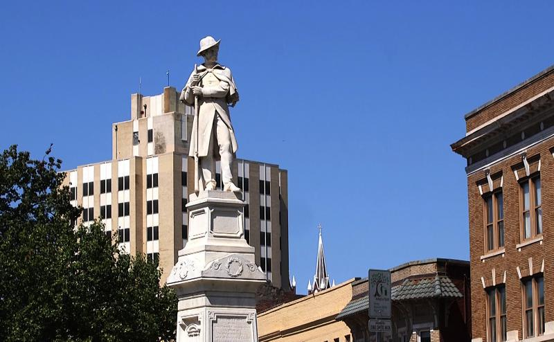 The Civil War monument at the intersection of Second Street and Cotton Avenue in Macon was erected in 1879 as a memorial to the Macon citizens who were killed fighting for the Confederacy.
