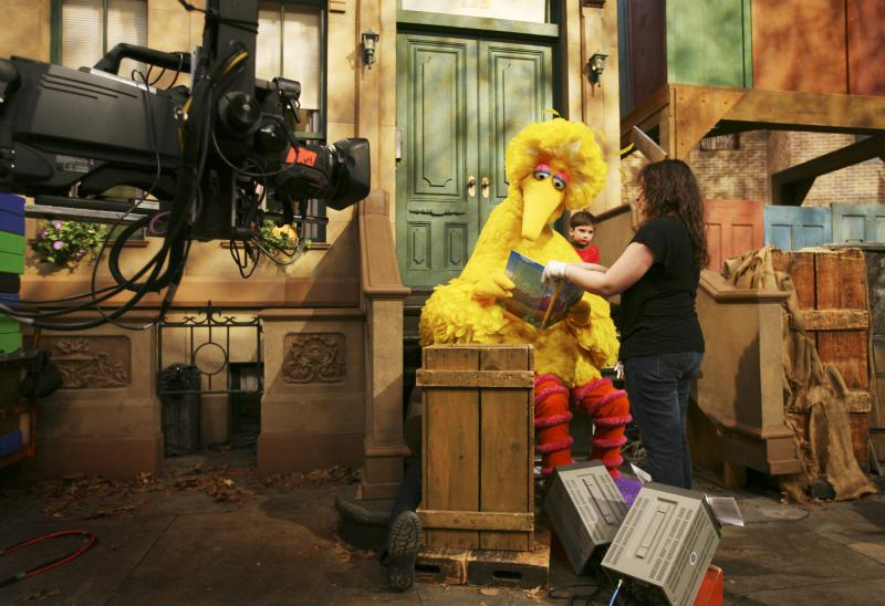 sesame street big bird filming behind the scenes