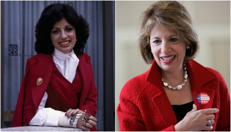 Left: Jackie Speier in Feb. 1979 after she survived being shot 5 times and left for dead on the tarmac in Guyana. Right: Jackie Speier smiles after voting in a special election in 2008.