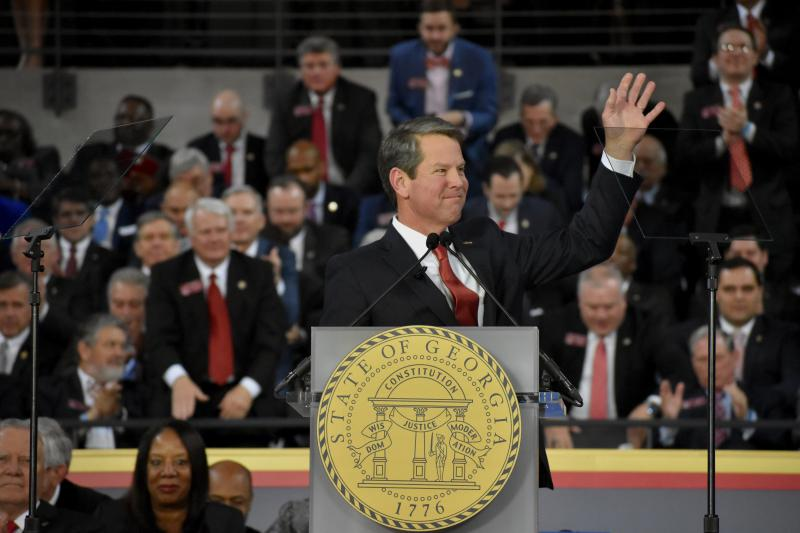 Republican Brian Kemp is sworn in as Georgia's 83rd Governor Monday, January 14, 2019 at Georgia Tech's McCamish Pavilion.