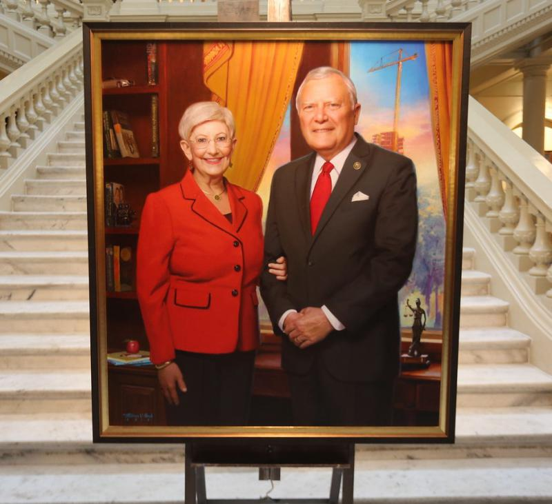 The official portrait of Gov. Nathan Deal and Mrs. Sandra Deal was unveiled at State Capitol on January 3, 2019.