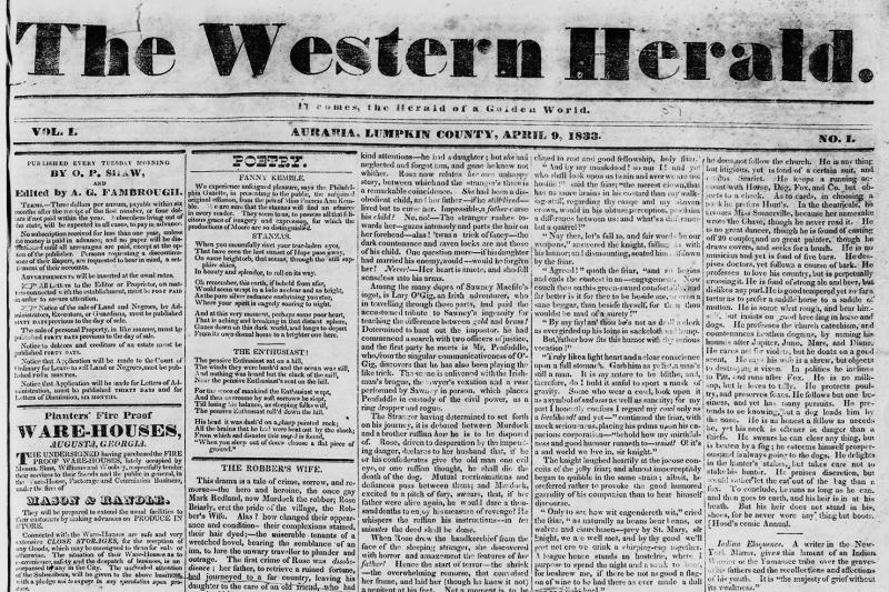 The front page of the first issue of the Western Herald, the newspaper in the gold rush town of Auraria, Georgia.