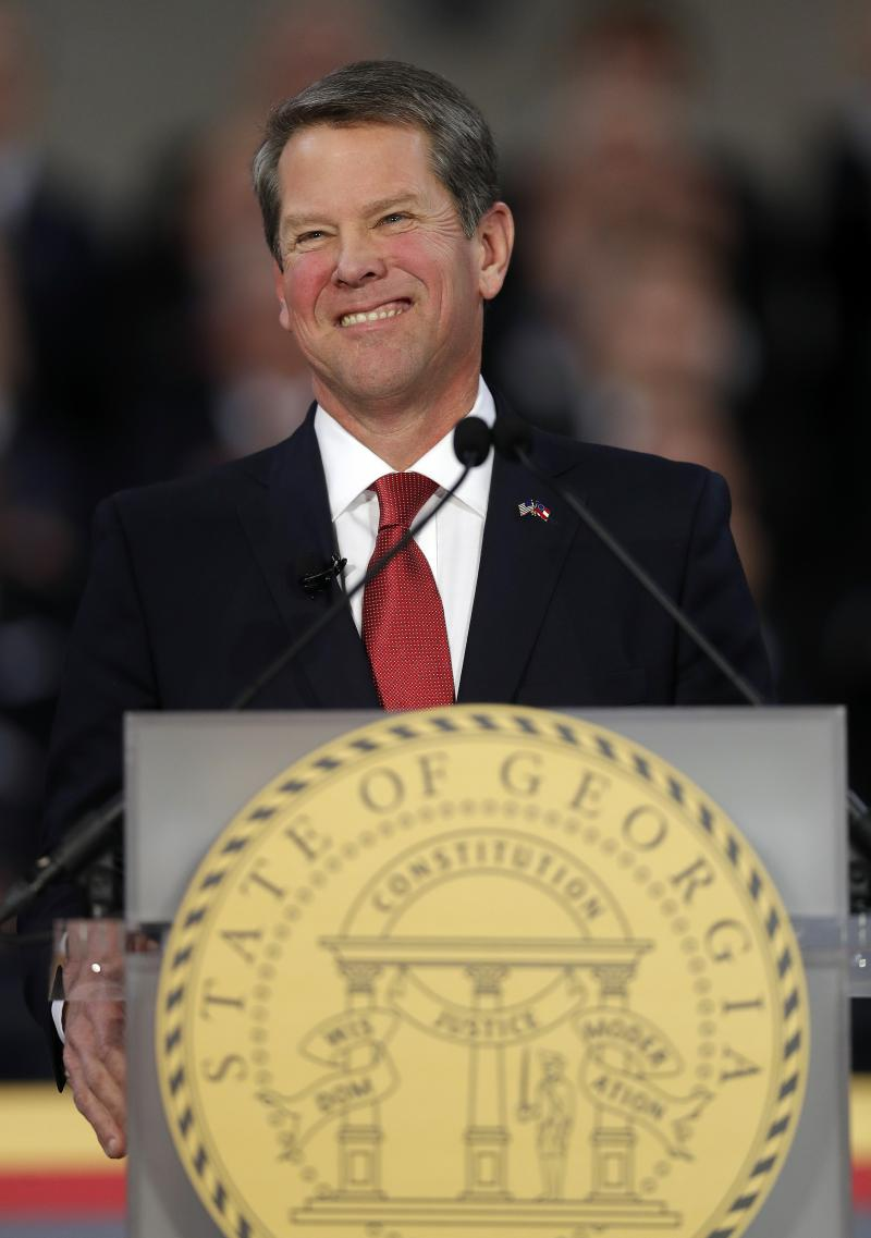 Gov. Brian Kemp speaks after being sworn in as Georgia's governor during a ceremony at Georgia Tech's McCamish Pavilion, Monday, Jan. 14, 2019, in Atlanta.