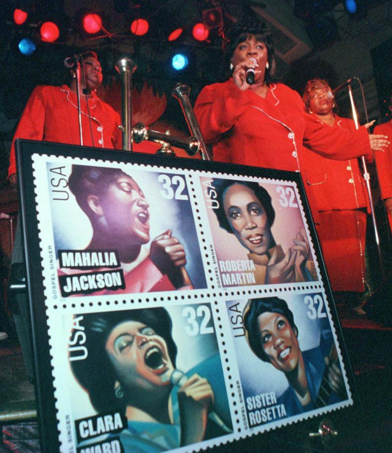 The Beamon Singers Gospel Choir at the presentation of the U.S. Postal Service's newest stamps depicting four of gospel's most innovative singers.