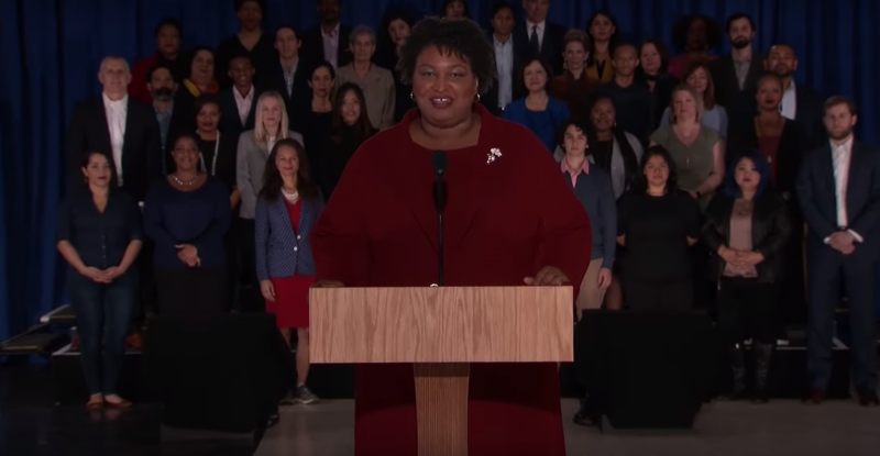 Democrat Stacey Abrams delivers the response to the State of the Union address in downtown Atlanta Tuesday, Feb. 5, 2019