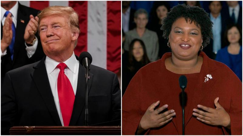 Left, President Donald Trump gives his State of the Union address. Right, Stacey Abrams delivers the Democratic party's response.