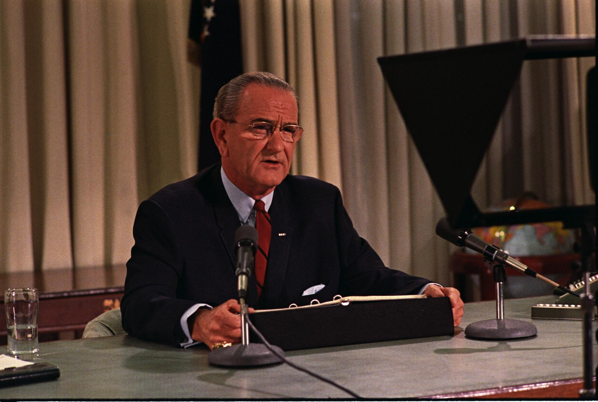 lbjs office president. President Lyndon B. Johnson Addresses The Nation, Announcing A Bombing Halt In Vietnam And His Intention Not To Run For Re-election. Lbjs Office