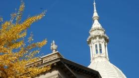 Autumn photo of Michigan capitol building.