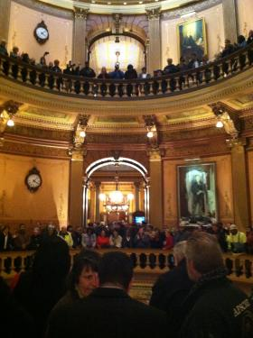 'Right To Work' Opponents Tuesday Afternoon Inside The State Capitol