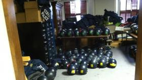 Michigan State Police riot gear in the Capitol Building.