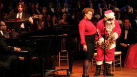Joan Javitz with Joseph Lulloff (Santa) and MSU Jazz Combo. Coming to WKAR TV in December 2012 - MSU's Home for the Holidays - Wharton Center Cobb Great Hall.