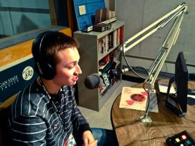 Alex Scharg in WKAR AM studio