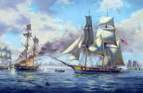 The American fleet of nine vessels, commanded by Oliver H. Perry, was outgunned by the British heading into The Battle of Lake Erie in 1813.