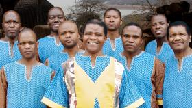 Ladysmith Black Mambazo. Albert Mazibuko is on the far left.