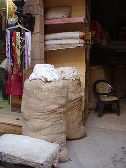 Cotton in a Luxor bazaar, Egypt.