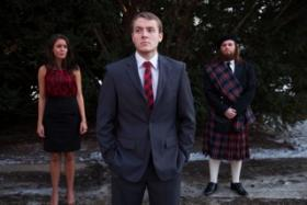 "Adam Sutherland (center) stars in ""U.P."" Also pictured: Michelle Serje and Andrew Buck."