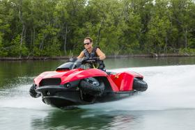Unveiled at the Detroit Boat Show, the Quadski quickly transitions from land to water.