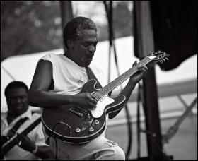 Kinsey at the Pocono blues festival.