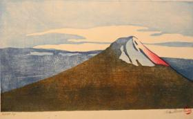 A mokuhanga painting of Mt. Fuji by Linda Beeman.