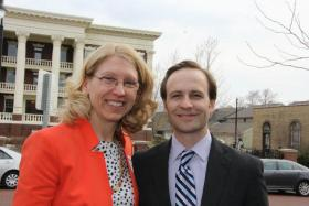 Terri Lynn Land, pictured here alongside Lt. Gov. Brian Calley, says her management style from serving as Secretary of State and other roles would serve her well in the U.S. Senate.