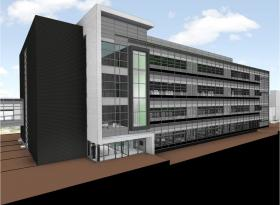 The new bioengineering facility, pictured here in an artist's rendering, will be located on the south end of campus between the Life Science building and the Clinical Center.