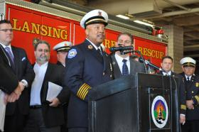 The cities of Lansing and East Lansing share the services of Fire Chief Randy Talifarro.