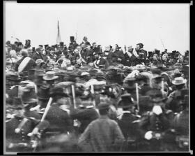 The only known photograph of President Lincoln delivering the Gettysburg Address.