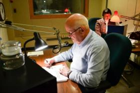 Bob Ebersole and Nancy Ehret volunteer for Radio Reading Service.