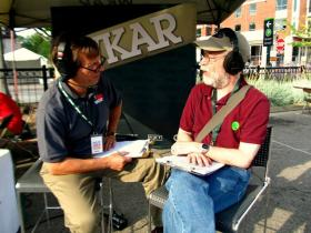 "Bob Blackman (right) hosted ""The Folk Tradition"" on WKAR for nearly three decades."