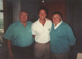 Russ White with then MSU football coach George Perles and J.P. McCarthy at WJR in August 1992.