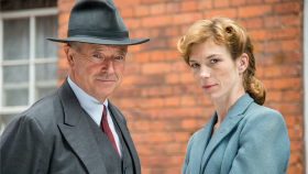 "Michael Kitchen and Honeysuckle Weeks as ""Foyle"" and ""Sam"""
