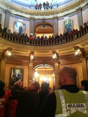 Michigan was the 24th state in the country to enact right to work, amid protests. Some took place in Lansing last December at the Capitol building.