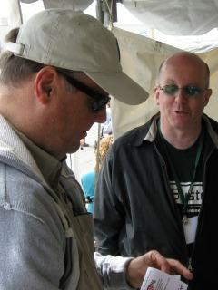 Executive producer Tim Zeko with Matt at the East Lansing Art Festival.