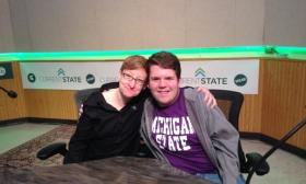 MSU LGBT Resource Center director Deanna Hurlbert, with MSU freshman Ian Jacobs. Jacobs recently came out as gay.