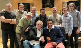Johnny Mathis (front, right) with the people who helped him record his upcoming album 'Sending You A Little Christmas'.