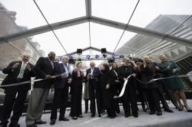 Founding director Michael Rush (far left), at the ribbon cutting ceremony to open the Broad Art Museum in 2012.