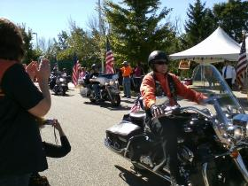 Harley riders return from the American Heroes Ride.