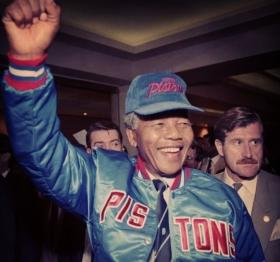 Shortly after he was released from prison, Nelson Mandela wore Detroit Pistons gear during a visit to Detroit.
