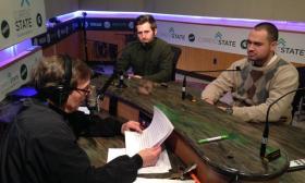 Dan Zomerlei (center) and Paul Lepley (right) with host Mark Bashore.