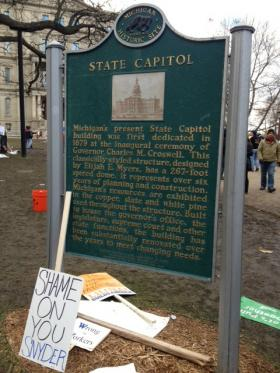The Capitol lawn after the Right to Work protests on December 12, 2012.
