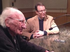 Ernst Floeter (left) was brought to Michigan shortly after his capture in the days following D-Day. Eric Perkins (right) invited Floeter to be part of the Michigan Historical Museum's Statehood Day events.