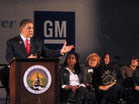 Economic development was a major focus of Lansing Mayor Virg Bernero's 2014 State of the City speech at GM's Lansing Grand River Assembly plant.