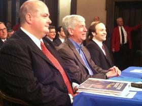 Michigan Budget Director John Nixon, Governor Rick Snyder and Lieutenant Governor Brian Calley delivered the administration's 2014-15 spending proposal to state House and Senate budget committees. The plan calls for more money for schools, universities and local governments – and a new property tax break for homeowners.