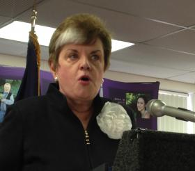 Michigan Department of Human Services Director Maura Corrigan helps announce the proposal Thursday in Royal Oak.