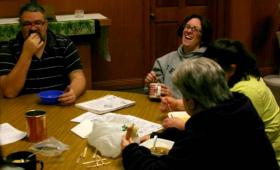 Participants chat during a soup dinner in December. All of the soup is made by Terry Borden.