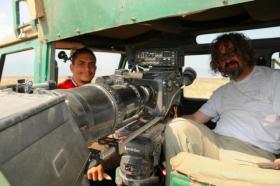 Dan Kneece (right) with Yousef Linjawi in the Serengeti.