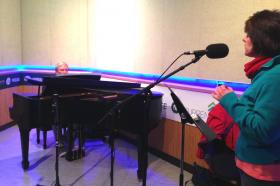 Julie Mulady sings as Michael Brush accompanies her on the Steinway piano in WKAR's Studio S.