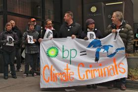 Demonstrators gather in Chicago to protest the BP oil spill in Lake Michigan.