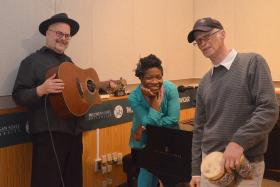 L to R: Larry Neuhardt (guitar, vocals), DeShaun Sparkle Snead (piano, vocals), and John Esser (percussion, vocals).